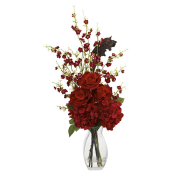 Hydrangea Cherry Blossom and Rose Arrangement - SKU #1327