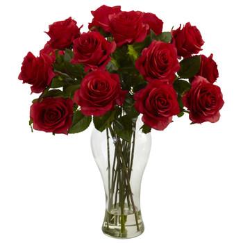 Blooming Roses w/Vase - SKU #1328