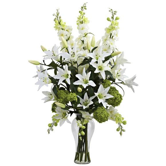 Lily Delphinium Hydrangea Silk Arrangement - SKU #1335