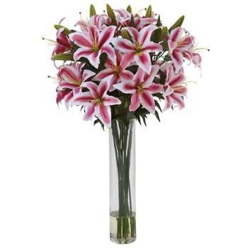 Rubrum Lily w/Large Cylinder Arrangement - SKU #1340