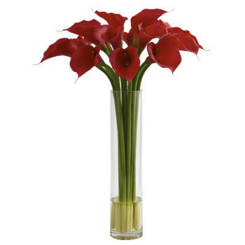 Red Calla Lily w/Large Cylinder Vase - SKU #1347