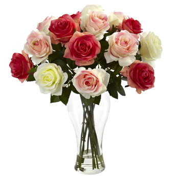 Assorted Blooming Roses w/Vase - SKU #1348-AP