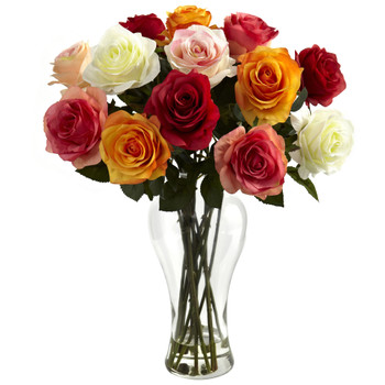 Assorted Blooming Roses w/Vase - SKU #1348