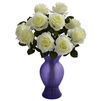 Roses w/Colored Glass Vase - SKU #1351-WP