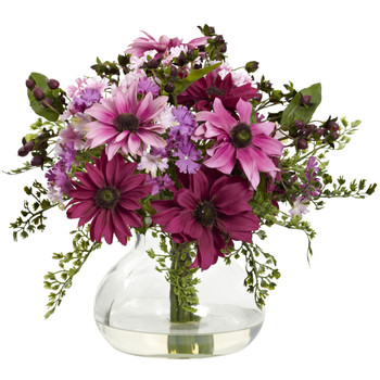 Mixed Daisy Arrangement w/Vase - SKU #1354