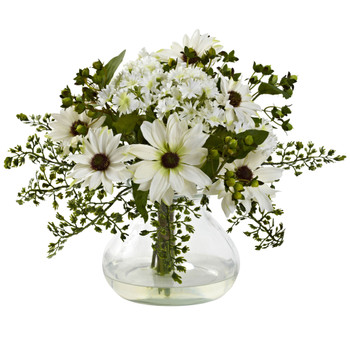 Mixed Daisy Arrangement w/Vase - SKU #1354-WH