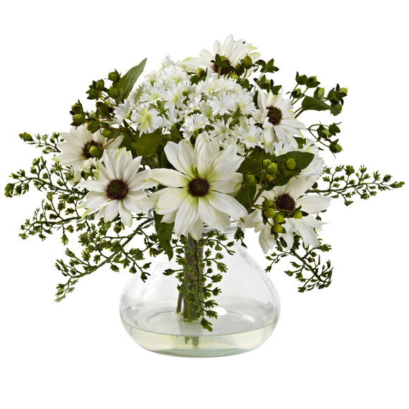 Mixed Daisy Arrangement w/Vase - SKU #1354 - 1