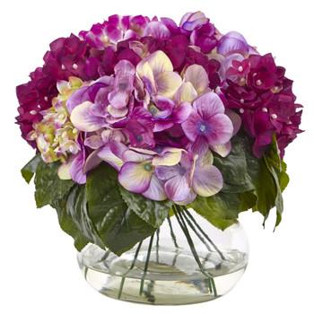 Mixed Hydrangea w/Vase - SKU #1364