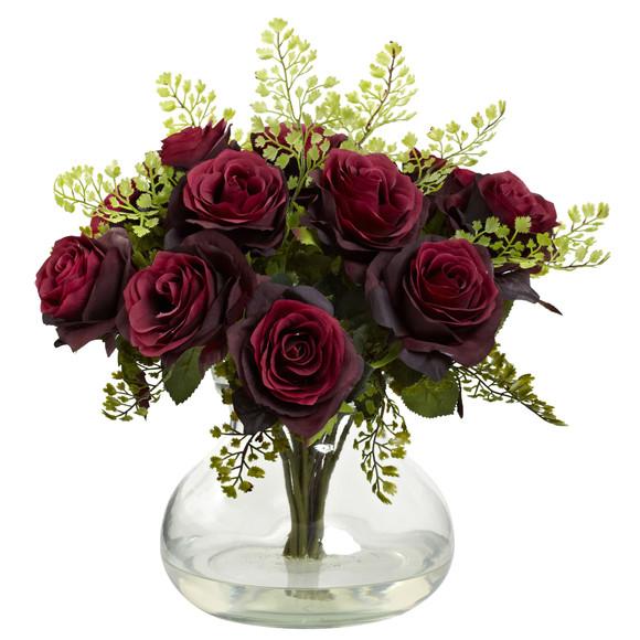 Rose Maiden Hair Arrangement w/Vase - SKU #1366 - 3