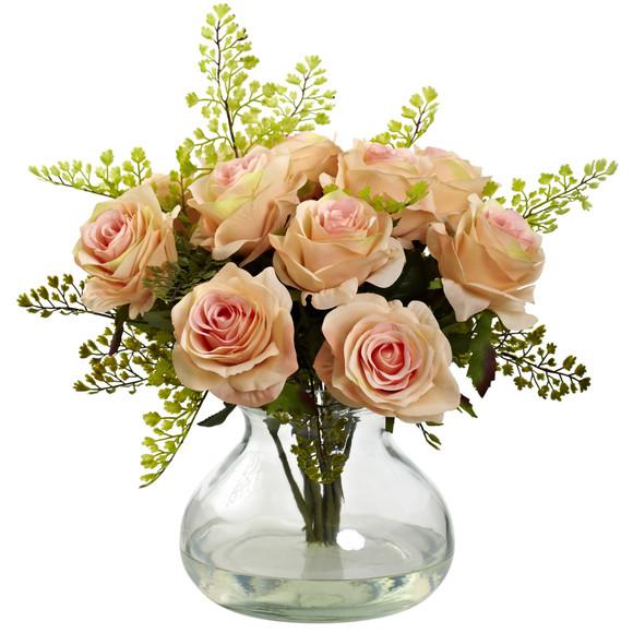 Rose Maiden Hair Arrangement w/Vase - SKU #1366 - 4