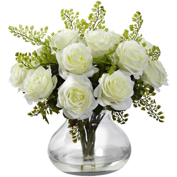 Rose Maiden Hair Arrangement w/Vase - SKU #1366 - 1