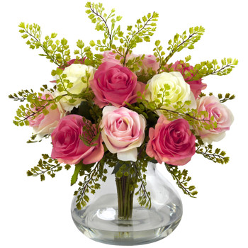 Rose Maiden Hair Arrangement w/Vase - SKU #1366