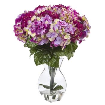Mixed Hydrangea w/Vase - SKU #1368