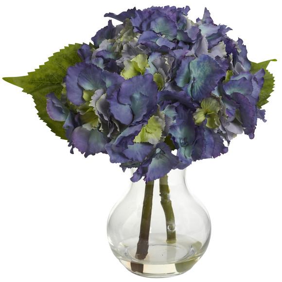 Blooming Hydrangea w/Vase Arrangement - SKU #1370-BL