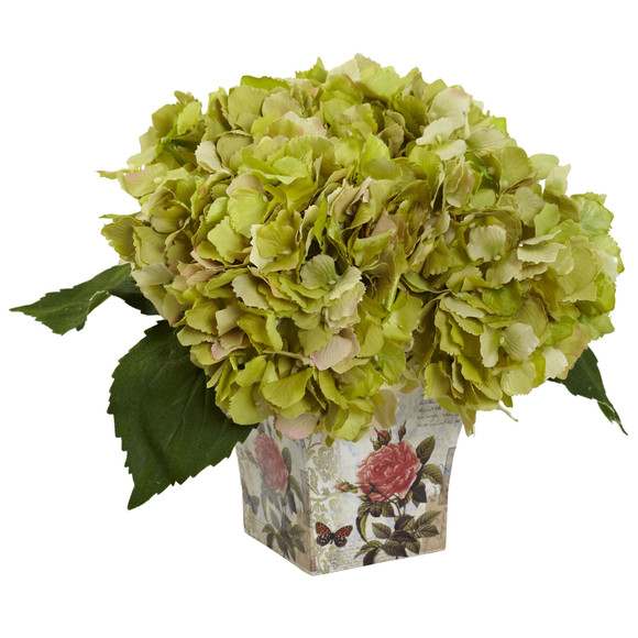 Hydrangea with Floral Planter - SKU #1373 - 2