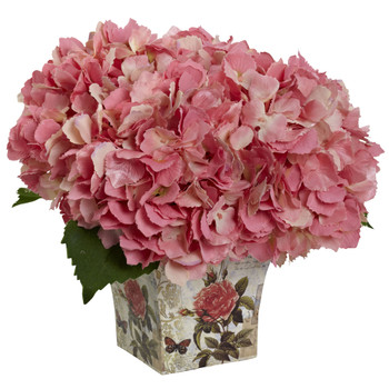 Hydrangea with Floral Planter - SKU #1373