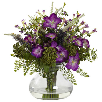Large Mixed Morning Glory w/Vase - SKU #1375