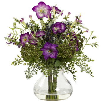 Mixed Morning Glory w/Vase - SKU #1376