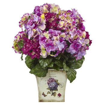 Blue Purple White Hydrangea w/Floral Planter - SKU #1378-BU