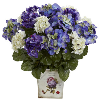 Blue Purple White Hydrangea w/Floral Planter - SKU #1378-BP