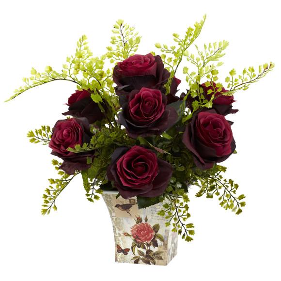 Rose Maiden Hair w/Floral Planter - SKU #1379 - 3