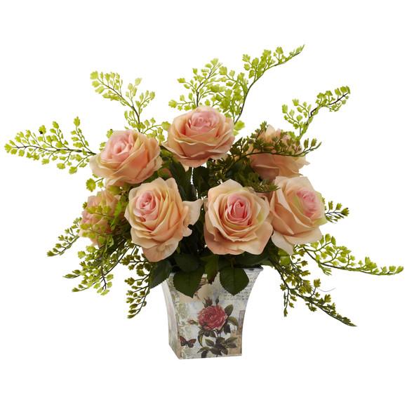 Rose Maiden Hair w/Floral Planter - SKU #1379 - 4