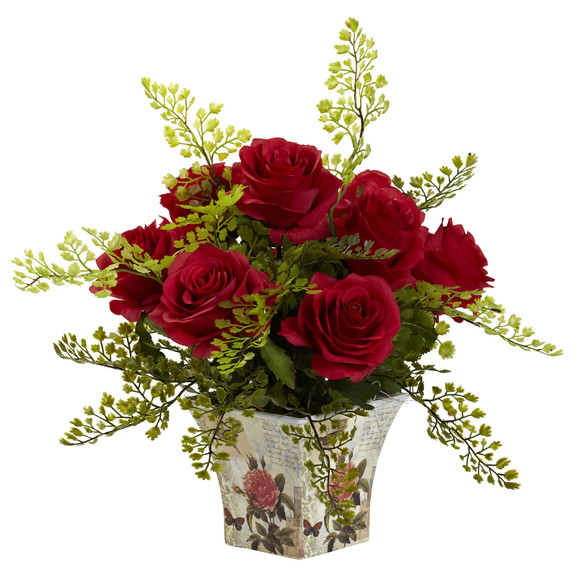 Rose Maiden Hair w/Floral Planter - SKU #1379 - 1