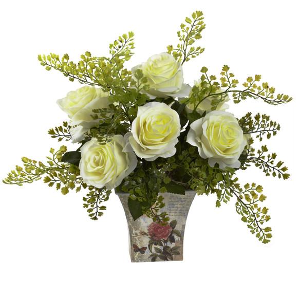 Rose Maiden Hair w/Floral Planter - SKU #1379 - 2