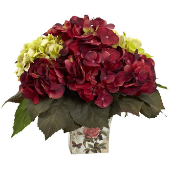 Green Burgundy Hydrangea Arrangement - SKU #1380