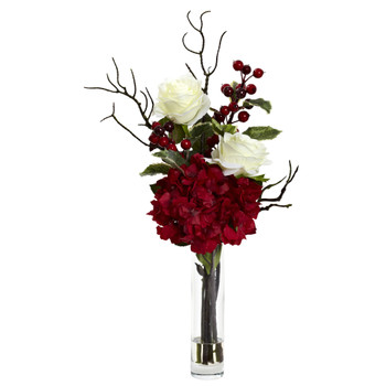 Merry Christmas Rose Hydrangea Arrangement - SKU #1385