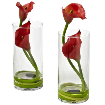 Double Calla Lily w/Cylinder Set of 2 - SKU #1390-S2