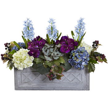 Hyacinth Hydrangea Artificial Arrangement in Stone Planter - SKU #1395