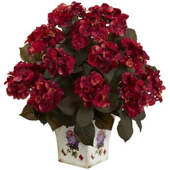 Hydrangea w/Large Floral Planter - SKU #1396