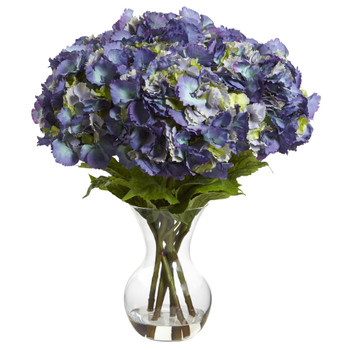 Large Hydrangea w/Vase Silk Flower Arrangement - SKU #1401-BL