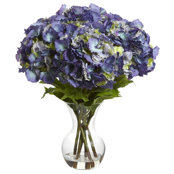 Large Hydrangea w/Vase Silk Flower Arrangement - SKU #1401-BL