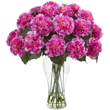 Blooming Carnation Arrangement w/Vase - SKU #1403