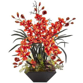 Cymbidium Orchid with Black Vase - SKU #1404-BG