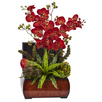 Autumn Orchid Succulent Arrangement w/Chest - SKU #1412