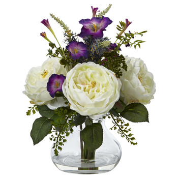 Rose and Morning Glory Arrangement with Vase - SKU #1413-WH