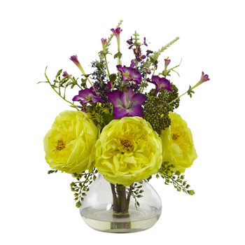 Rose and Morning Glory Arrangement with Vase - SKU #1413-YL