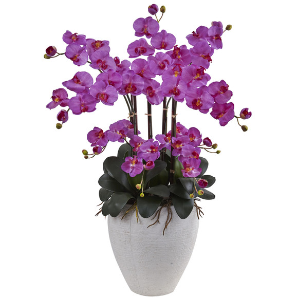 Phalaenopsis Orchid with White Planter - SKU #1420-OR