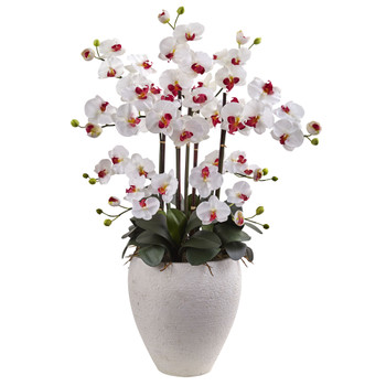 Phalaenopsis Orchid with White Planter - SKU #1420-WH