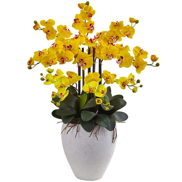 Phalaenopsis Orchid with White Planter - SKU #1420 - 2