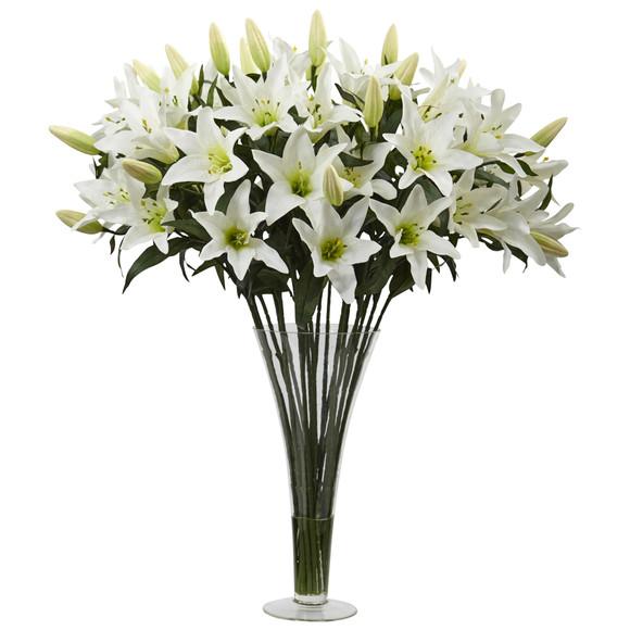 Lily Arrangement with Flared Vase - SKU #1430