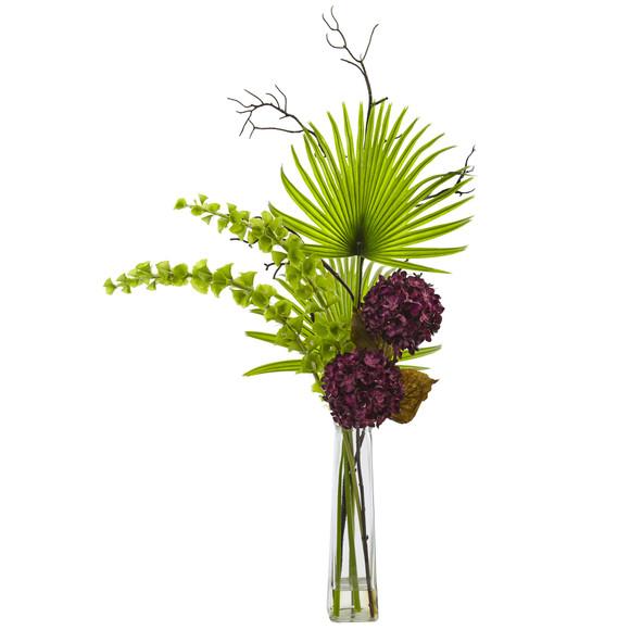 Hydrangea Bells Of Ireland and Palm Frond Arrangement - SKU #1435 - 1