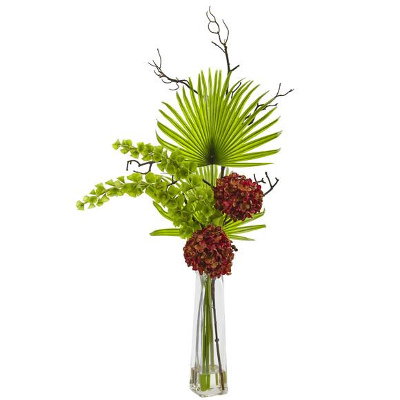 Hydrangea Bells Of Ireland and Palm Frond Arrangement - SKU #1435