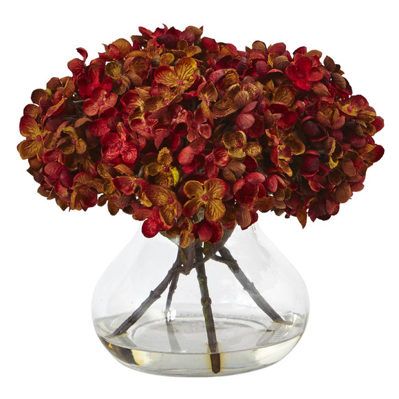 Hydrangea with Vase Silk Flower Arrangement - SKU #1439