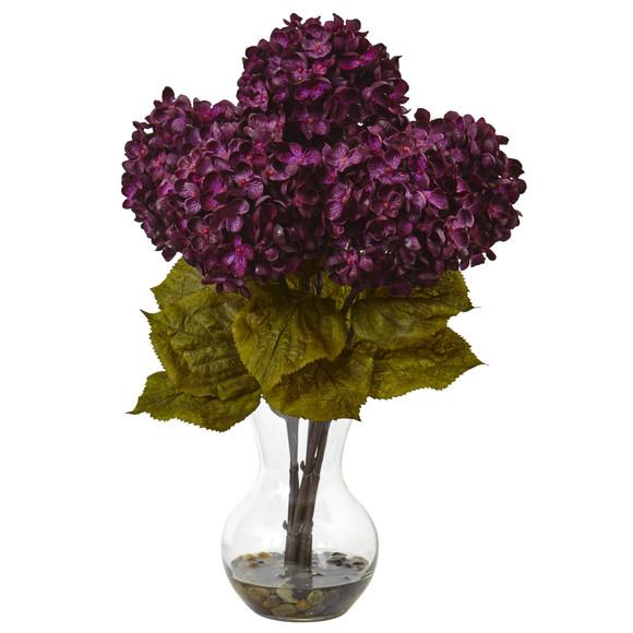Hydrangea with Vase Silk Flower Arrangement - SKU #1440 - 1