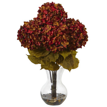 Hydrangea with Vase Silk Flower Arrangement - SKU #1440