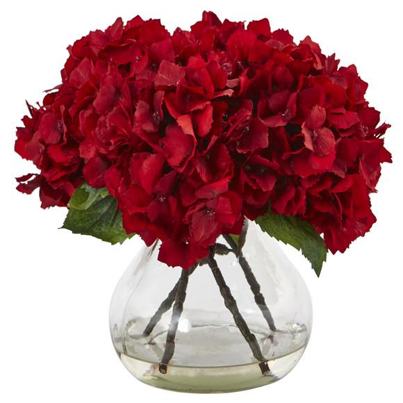 Red Hydrangea with Vase Silk Flower Arrangement - SKU #1441
